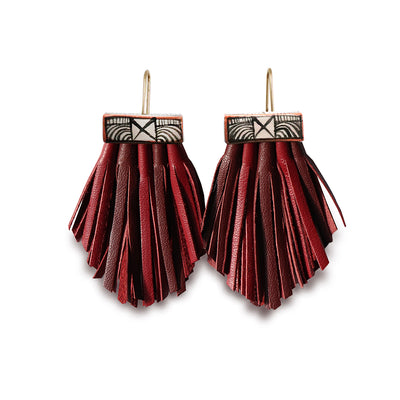 Tassel Cage Earrings- Malbec