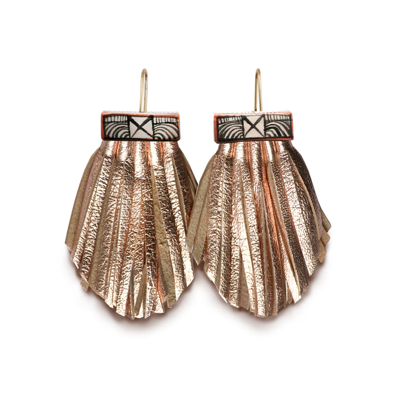 Tassel Cage Earrings - Rose Gold