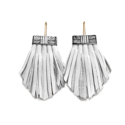 Tassel Cage Earrings – White