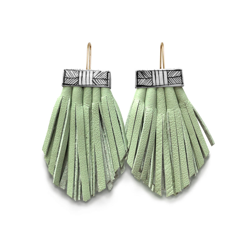 Tassel Cage Earrings - Seafoam