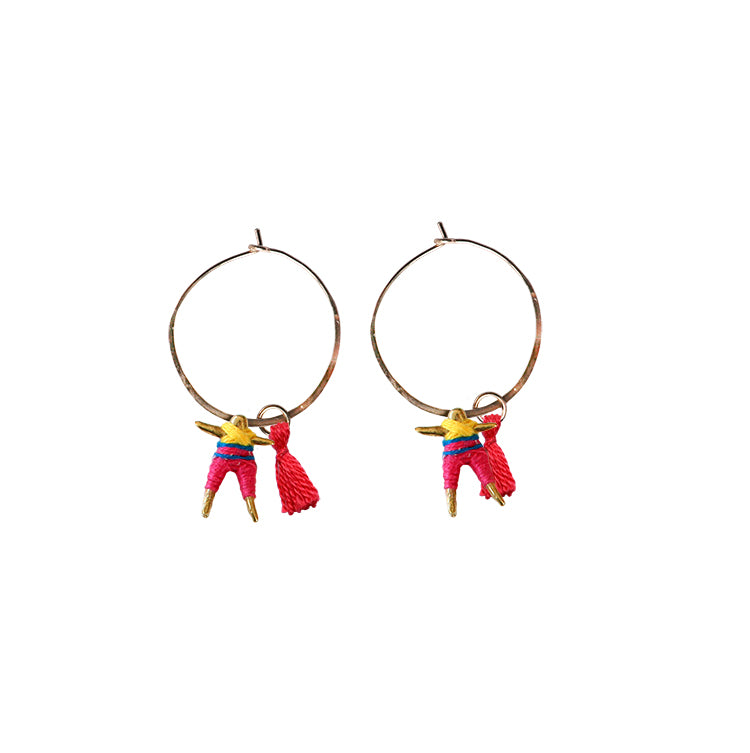 Small Worry Doll Hoop Earring - Fuchsia & Sunflower w/ Pink Tassel