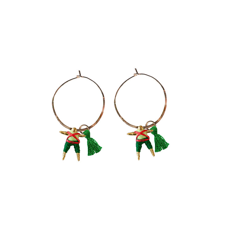 Small Worry Doll Hoop Earring - Red & Hunter w/ Green Tassel
