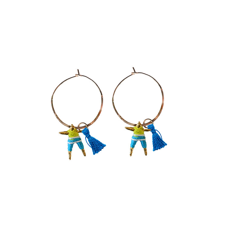 Small Worry Doll Hoop Earring - Lime & Blue w/ Blue Tassel