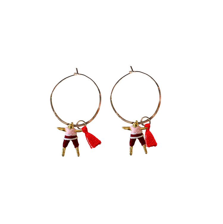 Small Worry Doll Hoop Earring - Pink & Maroon w/Red Tassel
