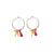 Small Worry Doll Hoop Earring - Tangerine & White w/ Pink Tassel