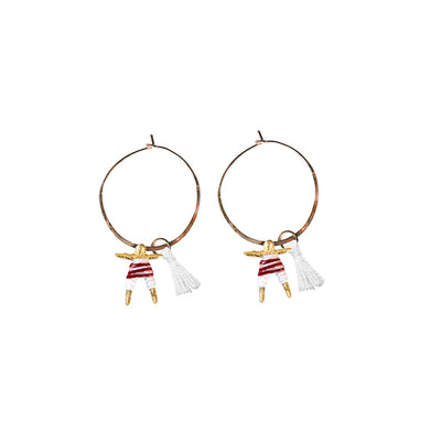 Small Worry Doll Hoop Earring - White & Maroon w/ White Tassel