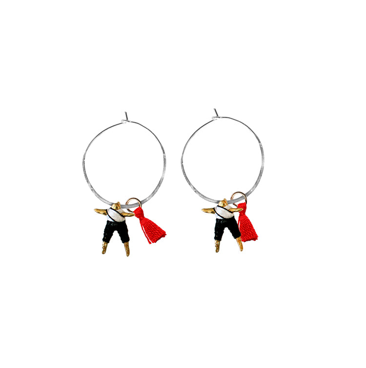 Small Worry Doll Hoop Earring - Black & White w/ Red Tassel