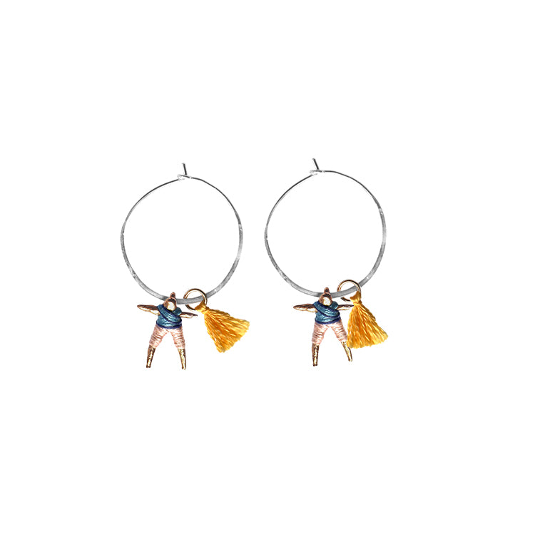 Small Worry Doll Hoop Earring - Blue & Peach w/ Yellow Tassel