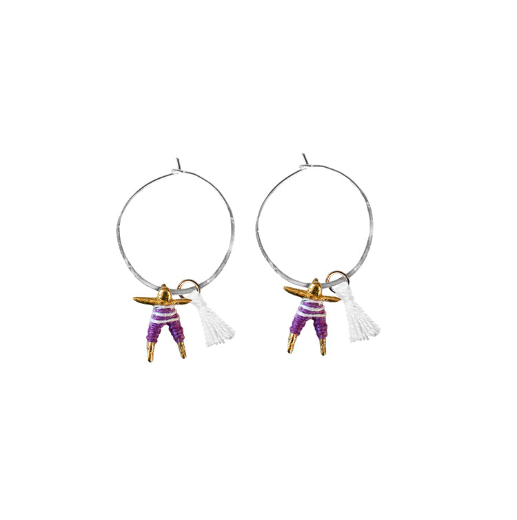 Small Worry Doll Hoop Earring - Purple & White w/ White Tassel