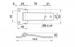 Door hinge 140 Length