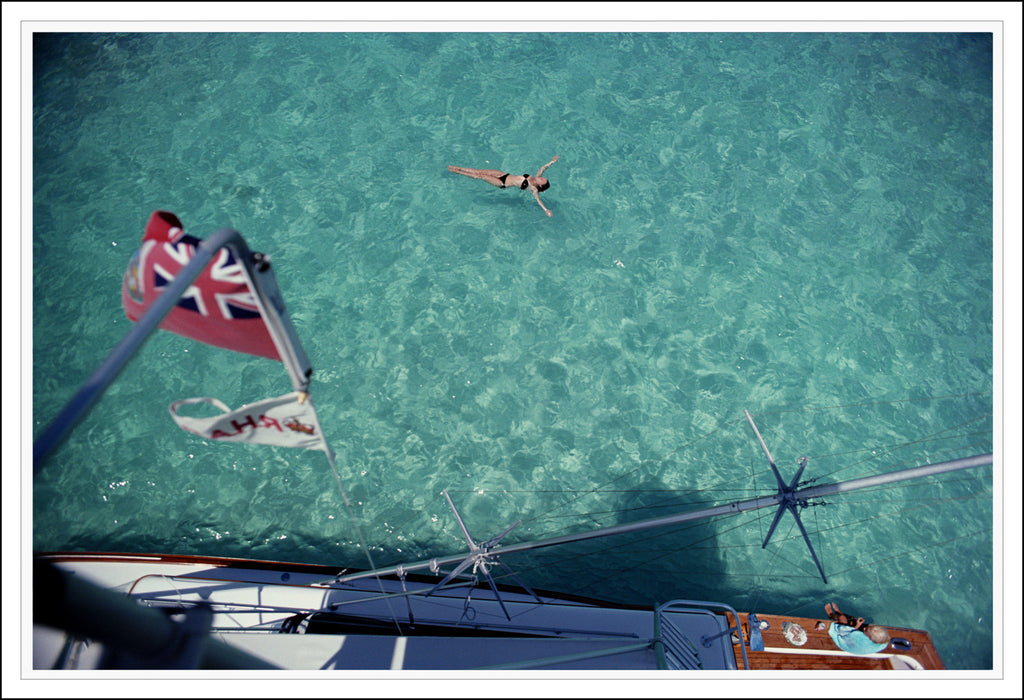 "FRAMED ""Swimming In Bermuda"" 30x40 Getty Images Beach Collection by Slim Aarons Photography W Gallery In Stock - Global Images USA"