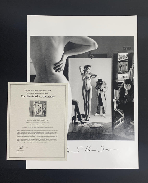 """Self Portrait w Nude Model and Wife, Paris 1981"" Signed Vintage Silver Gelatin Print w/ Estate Copyright Stamp 16x20 (Inquire for Pricing) by Helmut Newton Photography - Global Images USA"