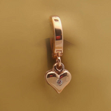 14K Rose Gold Belly Ring with Diamond Heart Dangle - TummyToys