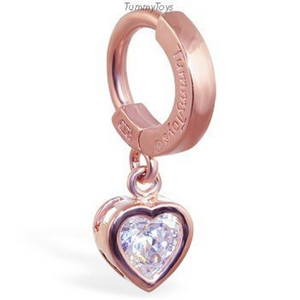 14K Rose Gold Belly Button Ring with Stunning Cz Heart - TummyToys