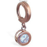Beautiful 14K Rose Gold Belly Ring with Large Round CZ Dangle Charm - TummyToys