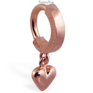 14K Rose Gold Belly Ring and Heart Charm - TummyToys