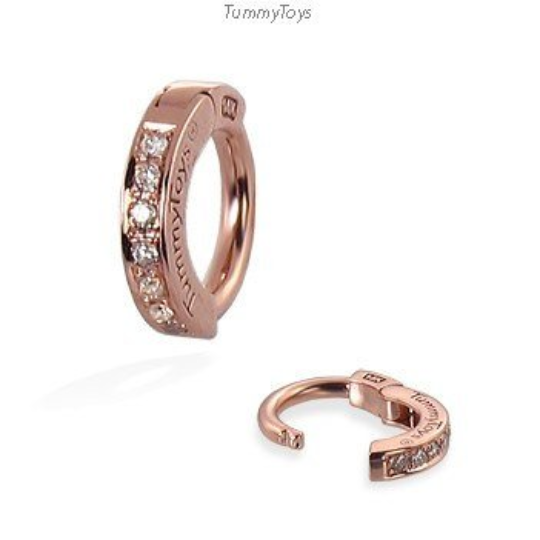 14K Rose Gold Real Diamond Pave Belly Button Ring By Tummytoys - TummyToys