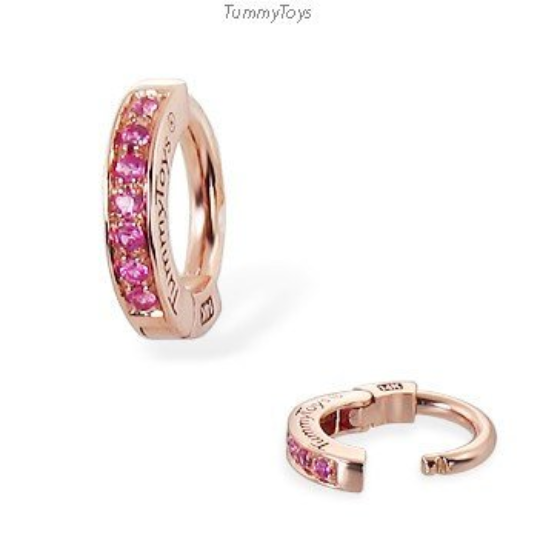 14K Rose Gold Belly Ring With 7 Pave Set Vibrant Pink Sapphires By Tummytoys - TummyToys