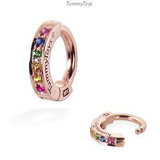 Exclusive 14K Rose Gold and Rainbow Sapphire Belly Ring - TummyToys