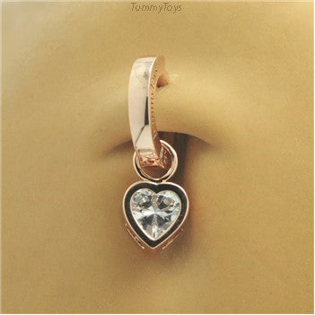Rose Gold Belly Ring with CZ Heart Dangle Charm - TummyToys