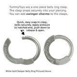 14K White Gold Sleeper Belly Button Ring Exclusively By Tummytoys - TummyToys