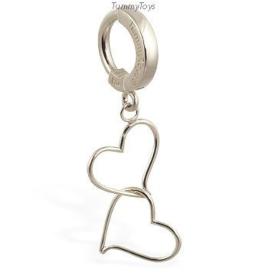 14K White Gold Belly Ring and Double Hearts Charm - TummyToys