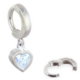 14K White Gold Belly Ring with Crystal Heart Drop Charm - TummyToys