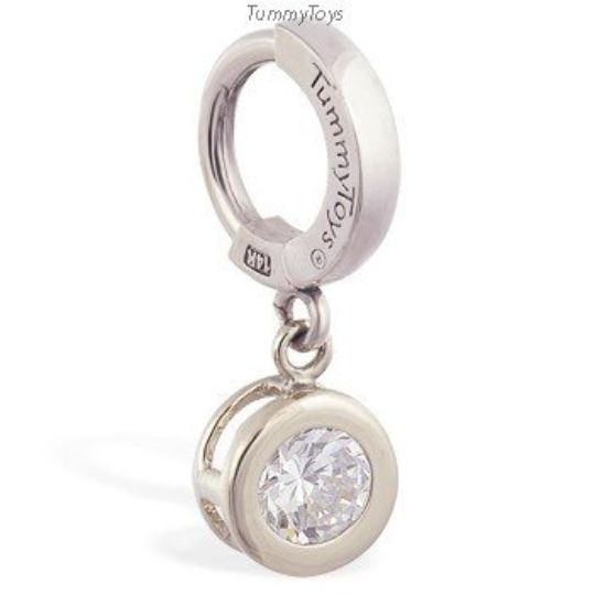 14K White Gold Belly Ring with Dangling Round CZ Charm - TummyToys