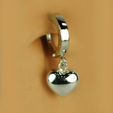 Solid 14K White Gold Heart Belly Ring - TummyToys