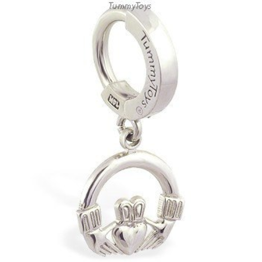 14K White Gold Belly Ring and Claddagh Charm - TummyToys