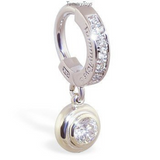 Custom 14K White Gold Belly Ring with Real Diamonds - TummyToys
