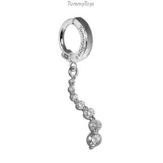 14K White Gold Custom Diamond Journey Belly Ring - TummyToys