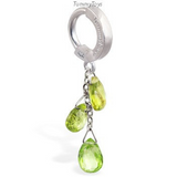 Solid 14K White Gold Belly Ring with Peridot Gemstone Dangle - TummyToys