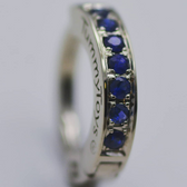 14K White Gold And Blue Sapphire Belly Ring