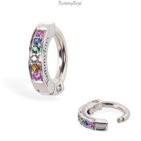 Exclusive 14K White Gold Rainbow Sapphire Belly Ring By Tummytoys - TummyToys