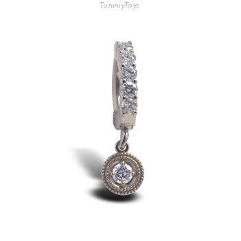 Custom 14K White Gold Belly Ring with Diamond Dangle Charm - TummyToys