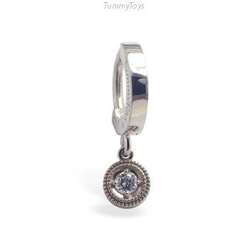 Plain 14K White Gold Belly Ring with Diamond Dangle Charm - TummyToys