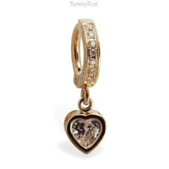 14K Yellow Gold Diamond Belly Ring with CZ Heart Charm - TummyToys