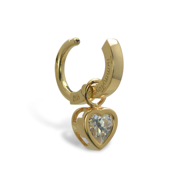 14K Yellow Gold Belly Ring With Swinger Heart CZ Charm By TummyToys - TummyToys