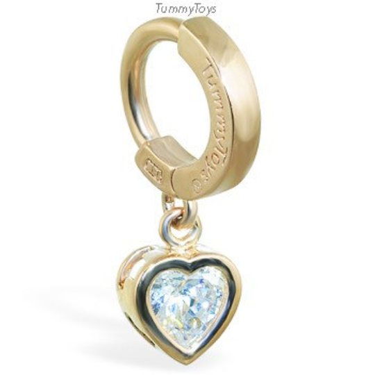 14K Yellow Gold Belly Ring with Heart CZ Charm - TummyToys