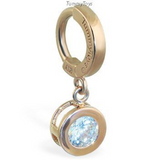 14K Yellow Gold Belly Ring With Dangling CZ Jeweled Charm - TummyToys