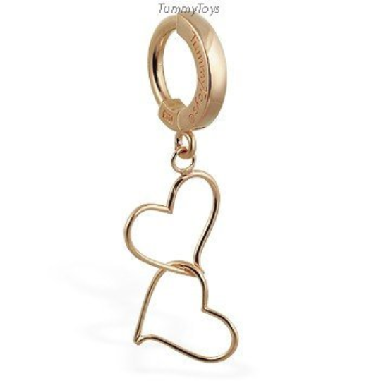 14K Yellow Gold Belly Ring | Floating Double Hearts - TummyToys