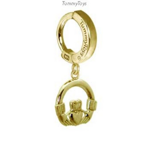 14K Yellow Gold Claddagh Charm on Gold Belly Ring - TummyToys