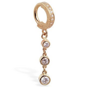 14K Yellow Gold Belly Ring with Genuine 3 Diamond Chain Dangle - TummyToys