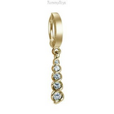Stunning Solid 14K Yellow Gold and Diamond Belly Ring - TummyToys