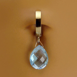 14K Yellow Gold Blue Topaz Belly Ring - TummyToys