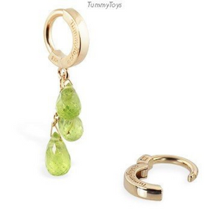 14K Yellow Gold Belly Ring With 3 Stunning Peridot Dangles By Tummytoys - TummyToys