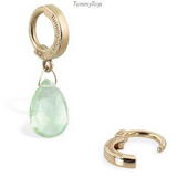 14K Yellow Gold Custom Green Quartz Belly Ring - TummyToys