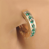 Exclusive 14K Yellow Gold Real Emerald Belly Button Ring - TummyToys