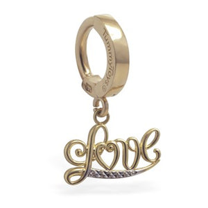 "14K Yellow Gold Navel Ring with ""Love"" Dangle Charm - TummyToys"